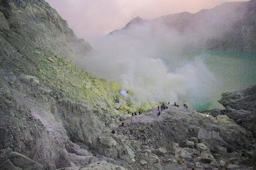 Toxic gases surrounding Mount Ijen's sulphur mine.