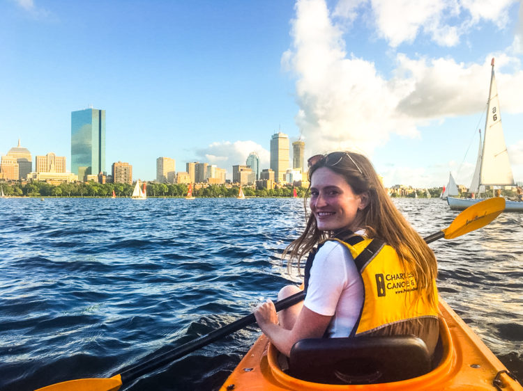 Paddling on Charles River in Boston, Massachussets.