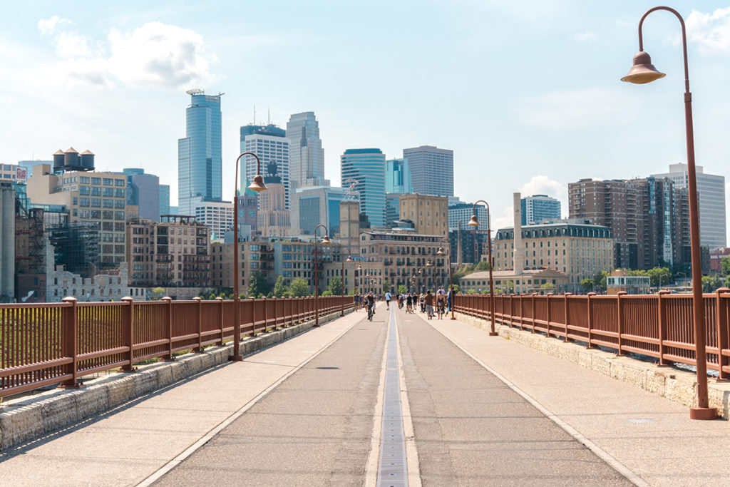 View of the Skyline of Minneapolis from the Stone Arch Bridge