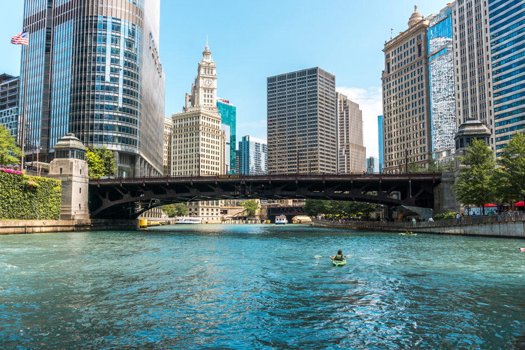 View of Chicago from the Riverwalk
