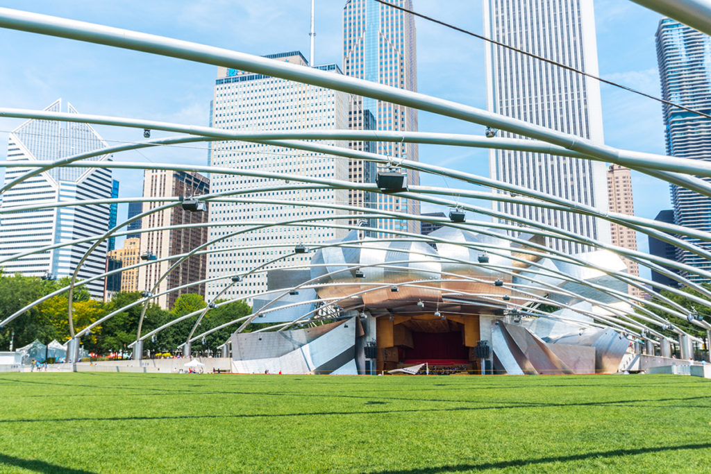 Millennium Park hosts the Cloud Gate and the Jay Pritzker Pavilion