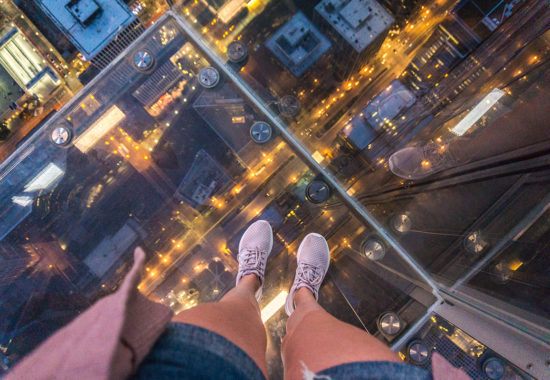 Get panoramic views of Chicago at the Skydeck of Willis Tower.