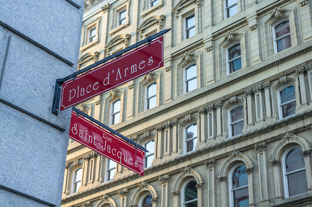 Place d'Armes located in Vieux Montreal, Canada.