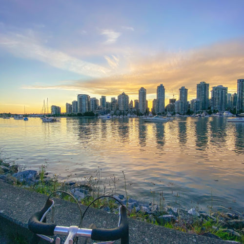 Biking in the seawall in Vancouver